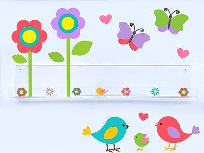 Livreiro de Parede Infantil Pássaros, Borboletas e Flores