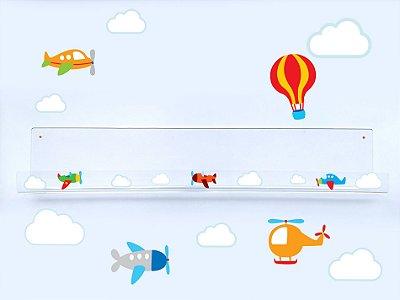 Livreiro de Parede Infantil Aviões e Nuvens
