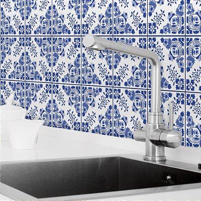 Adesivo de Azulejo Azul Alva 20x20 cm com 24 un