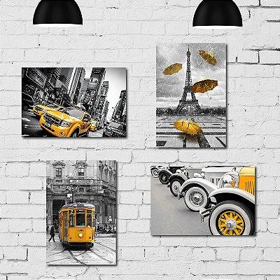 Kit Placa Decorativa MDF Cidades em Detalhe Amarelo 4 unidades