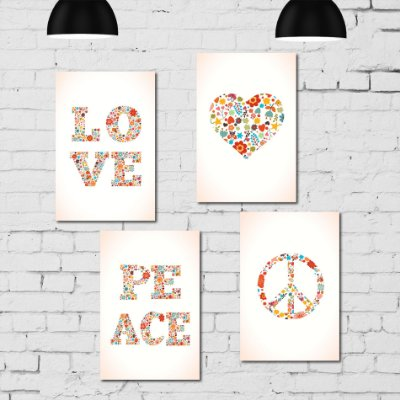 Kit Placa Decorativa MDF Paz e Amor 4 unidades
