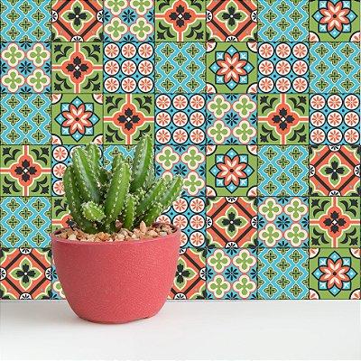 Adesivo de Azulejo Verde Cacto 20x20 cm com 24 un
