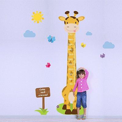 Adesivo de Parede Infantil Régua Girafa e Borboletas
