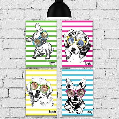 Kit Placa Decorativa MDF Cachorros 4 unidades