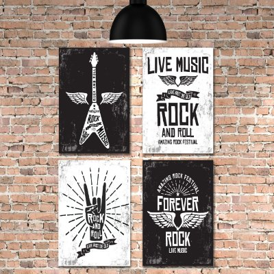 Kit Placa Decorativa MDF Rock e Musica 4 unidades