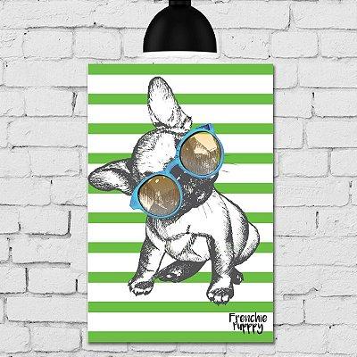 Placa Decorativa MDF Cachorro Fundo Verde