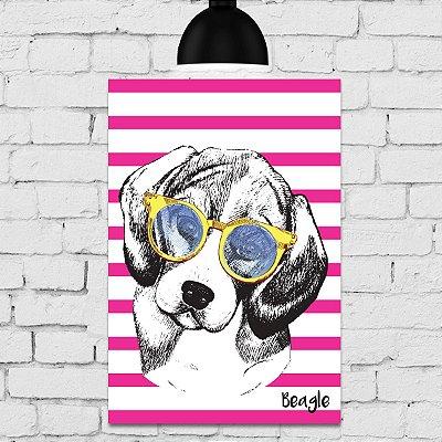 Placa Decorativa MDF Cachorro Fundo Rosa