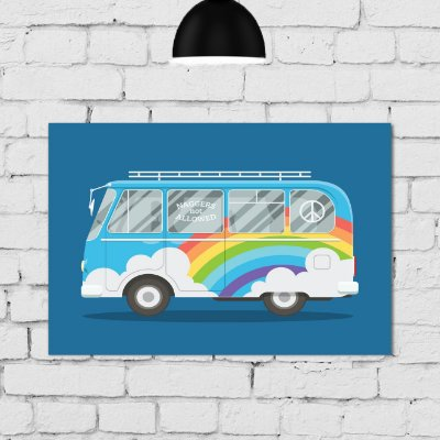 Placa Decorativa MDF Kombi ArcoIris
