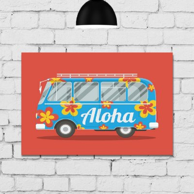 Placa Decorativa MDF Kombi Aloha