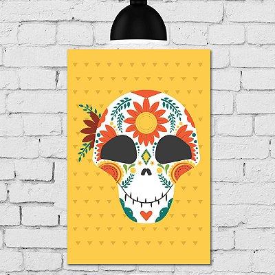 Placa Decorativa MDF Caveira Mexicana Com Flor