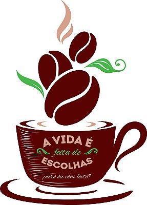Adesivo de Parede Cozinha Café Escolhas Pequeno