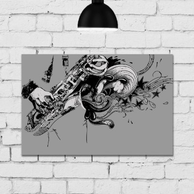 Placa Decorativa MDF Musico Sax