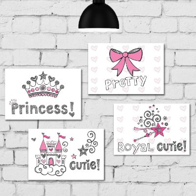 Kit Placa Decorativa MDF Princesa 4 unidades