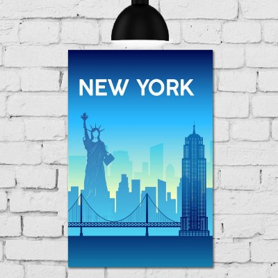Placa Decorativa MDF New York