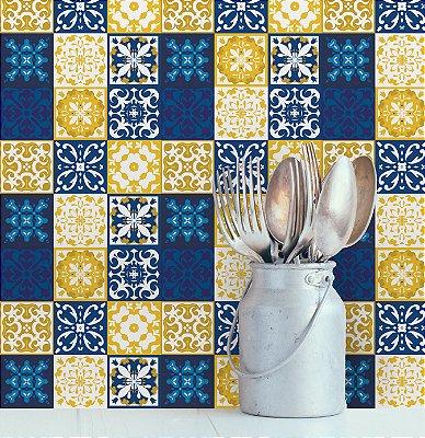 Adesivo de Azulejo Azul Cobalto 10x10 cm com 100 un