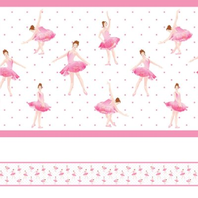 Adesivo de Parede Faixa Decorativa Infantil Bailarina 10m x 10cm