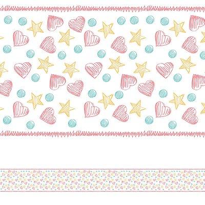 Adesivo de Parede Faixa Decorativa Infantil Coração 10m x 10cm