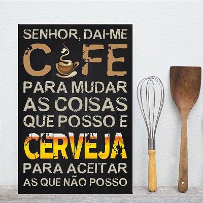 Placa Decorativa MDF Frase Café e Cerveja