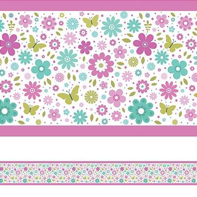 Adesivo de Parede Faixa Decorativa Infantil Borboletas 10m x 10cm