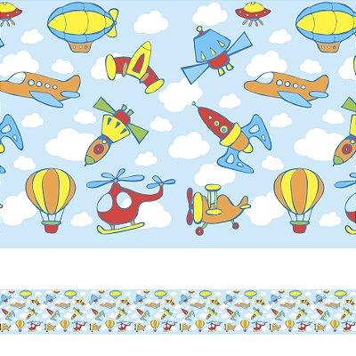 Adesivo de Parede Faixa Decorativa Infantil Aviões e Naves 10m x 10cm