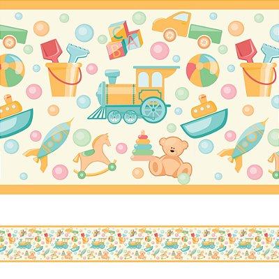 Adesivo de Parede Faixa Decorativa Infantil Brinquedos 10m x 10cm