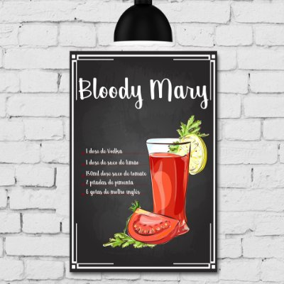 Placa Decorativa MDF Receitas de Drink Bloody Mary