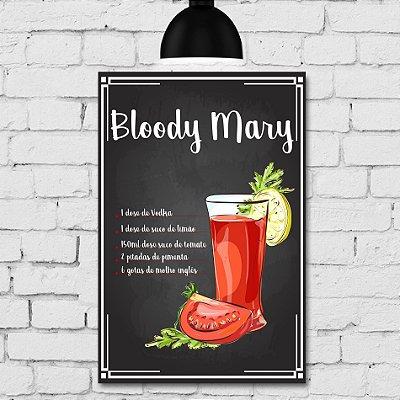 Placa Decorativa MDF Receitas de Drink Bloody Mary