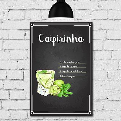 Placa Decorativa MDF Receitas de Drink Caipirinha