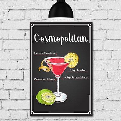 Placa Decorativa MDF Receitas de Drink Cosmopolitan