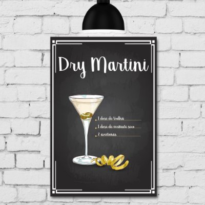 Placa Decorativa MDF Receitas de Drink Dry Martini