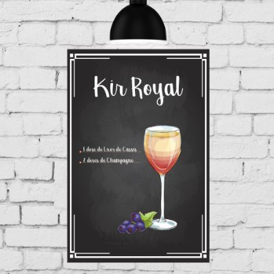 Placa Decorativa MDF Receitas de Drink Kir Royal