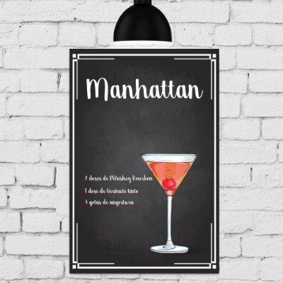 Placa Decorativa MDF Receitas de Drink Manhattan