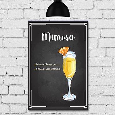 Placa Decorativa MDF Receitas de Drink Mimosa