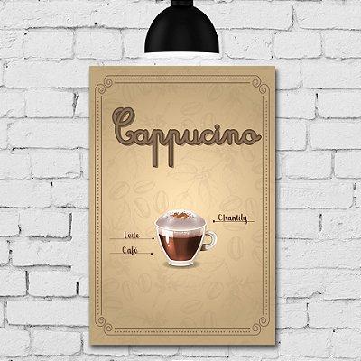 Placa Decorativa MDF Tipos de Café Cappucino
