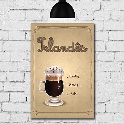 Placa Decorativa MDF Tipos de Café Irlandês