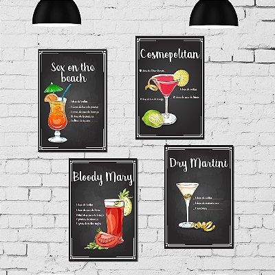 Kit Placa Decorativa MDF Receitas Drinks com Vodka - 4 unidades