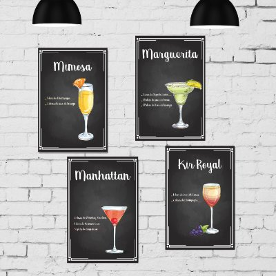 Kit Placa Decorativa MDF Receitas Drinks Taças - 4 unidades