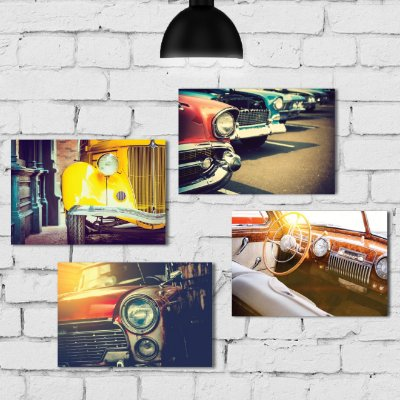 Kit Placa Decorativa MDF Vintage Car - 4 unidades