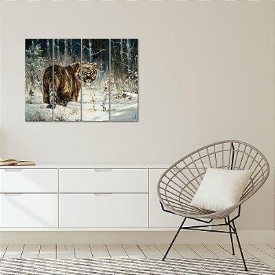 Quadro Decorativo em MDF Pintura Tigre