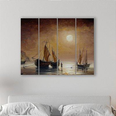 Quadro Decorativo em MDF Pintura Barco
