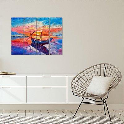 Quadro Decorativo em MDF Pintura Barco Pôr do sol