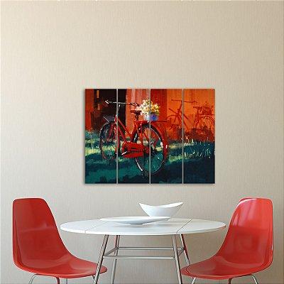 Placa Painel Decorativa em MDF Foto Bicicleta Kit 4 Placas