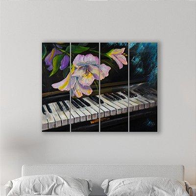 Placa Painel Decorativa em MDF Foto Piano e Flor Kit 4 Placas