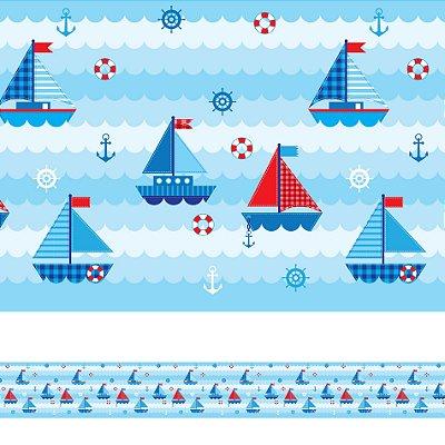 Adesivo de Parede Faixa Decorativa Infantil Barco 6m x 15cm