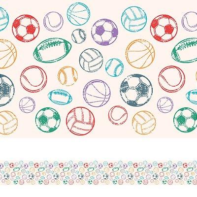 Adesivo de Parede Faixa Decorativa Infantil Bolas Coloridas 6m x 15cm