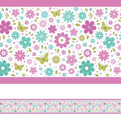 Adesivo de Parede Faixa Decorativa Infantil Borboletas 6m x 15cm