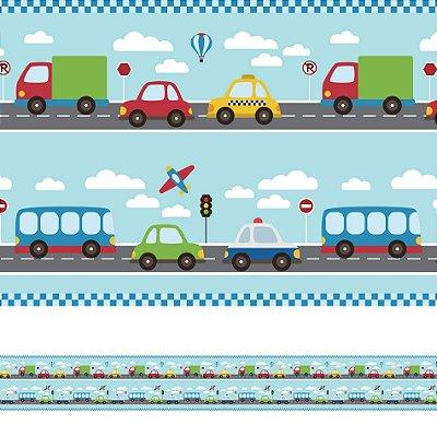 Adesivo de Parede Faixa Decorativa Infantil Carros 6m x 15cm