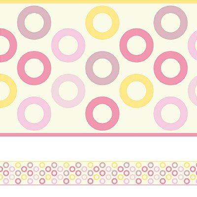 Adesivo de Parede Faixa Decorativa Infantil Círculos Rosa 6m x 15cm