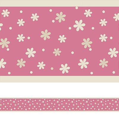 Adesivo de Parede Faixa Decorativa Infantil Floral 6m x 15cm