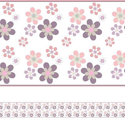 Adesivo de Parede Faixa Decorativa Infantil Flores 6m x 15cm
